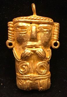 Tumbaga Gold , Colombian , Tairona Culture , 34 x 20 x 5 mm , 9 grams, A pendant of a Shaman
