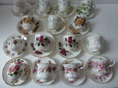 30-pieces, English porcelain cups and saucers - Royal Albert, Royal Devon, Royal Ascot Society Rose and many others