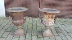 Two beautiful French cast iron garden vases
