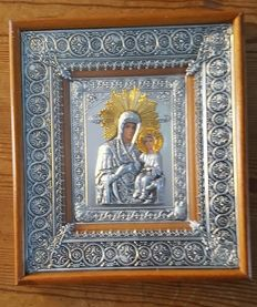 Theotokos (Virgin Mary),  - Silverplated  Icon behind glass