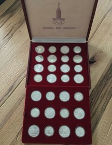 Russia – coin set 'Moscow 1980 Olympic Games', 14 x 5 rouble and 14 x 10 rouble