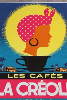 LES CAFES LA CREOLE 1964 MARCINELLE - nice old original belgian metal coffee sign
