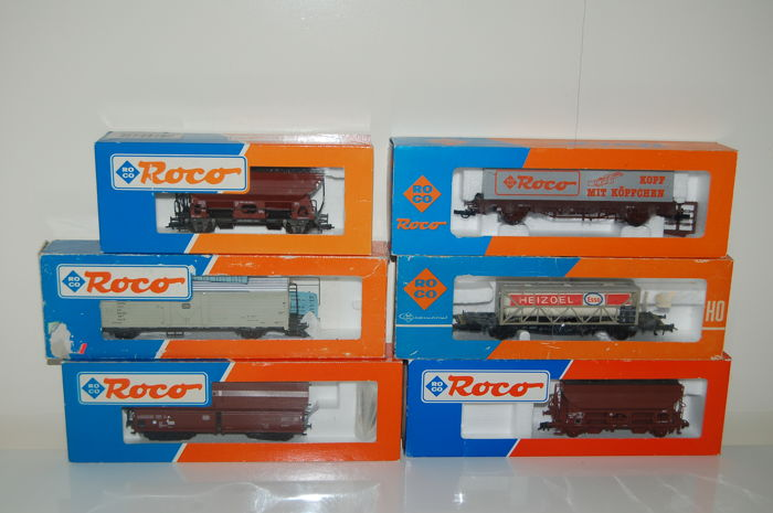 Roco H0 - 4321/4399W/46132/46240/46404/46432 - 6 various freight wagons of the DB/SNCF