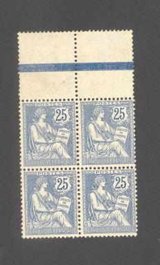 France 1902 - Block of four Type Mouchon modified, signed Calves - Yvert 127