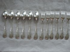 6 small forks and 6 small spoons, silver plated metal, Boulenger