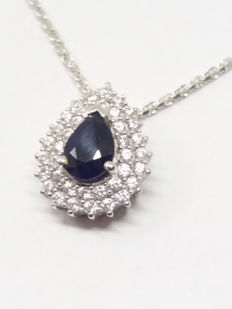 "Lovely Genuine 1.33cts Madagascan Blue Sapphire & White Zircon Pendant on 18"" Necklace."