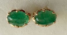 18 kt yellow gold earrings with 1.16 ct Colombian emeralds, length 15mm.