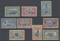 Belgian Congo 1918 - Red Cross - OBP Nos. 72 to 80
