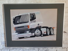 Original screen printing concept drawing DAF 75/ 85 signed by the designer Bertrandt framed L 81 cm x H 61 cm