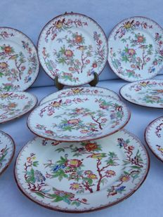 Saargemund Utzschneider and Co. - Lot of 10 white hand painted porcelain plates, Chinoiserie