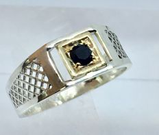 14kt solid gold & silver spinel mens ring - size 11