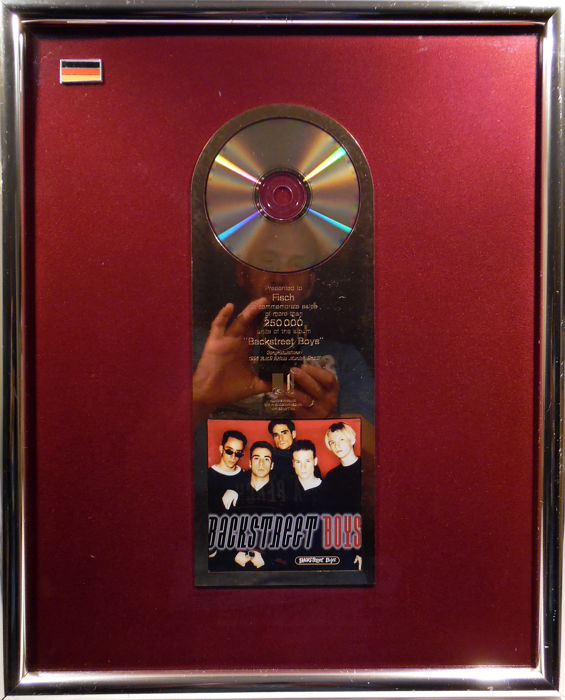 Backstreet Boys -  Backstreet Boys BSB - German GOLD Music Award goldene Schallplatte - original Sales Music Record Award ( Golden Record )