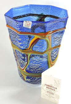 Formentello Murano - blown glass modelled vase with silver leaf and polychrome canes