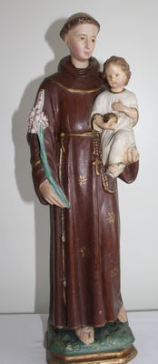 Image of St Anthony of Padua with baby Jesus - Flanders around 1950