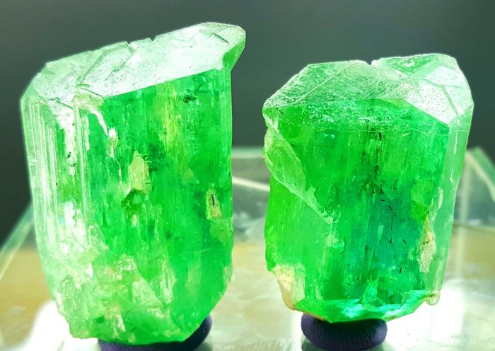Lush Green Kunzite crystals with Black Tourmaline Inclusions - 91 gm (2)