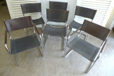 Mart Stam for Fasem – Set of 6 leather chairs