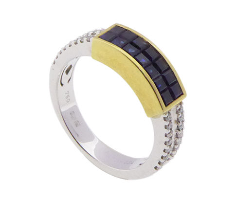 Gold Christian ring with sapphire and diamond
