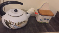 Glazed kettle shaped like a duck, objects storage in decorated ceramic, pair of fruit baskets signed Alessi .Made in italy