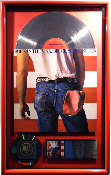 Bruce Springsteen - Born in the USA - US RIAA Platinum Costum Music Award goldene Schallplatte - original Sales Music Record Award ( Golden Record )