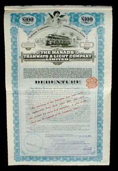 The Manaos Tramways & Light Company 100 P. Sterling 5% Debenture, 1909