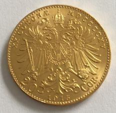 Austria - 20 crowns 1915 official restrike - gold