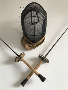 Antique fencing set: mask and foils, first half 20th century