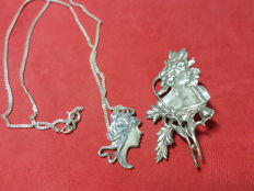 Silver Dutch Art Nouveau brooch and relief pendant with necklace