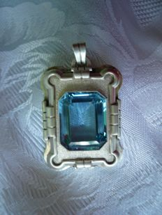 Large antique pendant with blue stone in solid silver, circa 1900