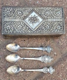 3 Silver-plated Rolex spoons in silver-plated box