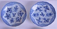 2 Ca mau cargo saucers floral panel pattern - China - ca 1752