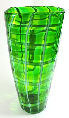 Murano - green vase with glass canes (34 cm)