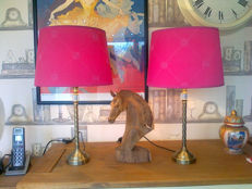 Laura Ashley - Splendid pair of bronze and crystal lamps with large fabric shade