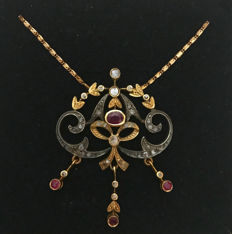 Biedermeier necklace with pendant necklace with rubies approx. 1.0 ct and diamonds approx. 0.60 ct made of gold 750 / 18 kt, antique, around 1800-1850