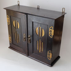Very decorative wall cabinet, in Art Nouveau style, mid 20th century