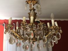 Gilt bronze chandelier with drops - 1940s/50s