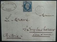 France 1853 - Napoleon III blue 25 cent, on a letter, approved by Calves with a digital certificate - Yvert No. 15