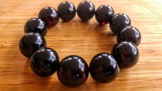Baltic Amber round beads bracelet Dark Cherry colour, diameter ca. 55 mm
