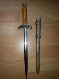 Original Officer's dagger of the German Armed Forces second world war WW2 including original Schlagband (Portepee Knot)