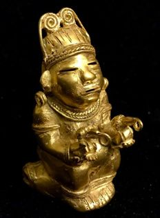 Amazing, Tumbaga Gold , artefact, Colombian ,Tairona Culture , 85 x 45 x 54 mm, 85.79 grams, an Indian naked native priestess offering