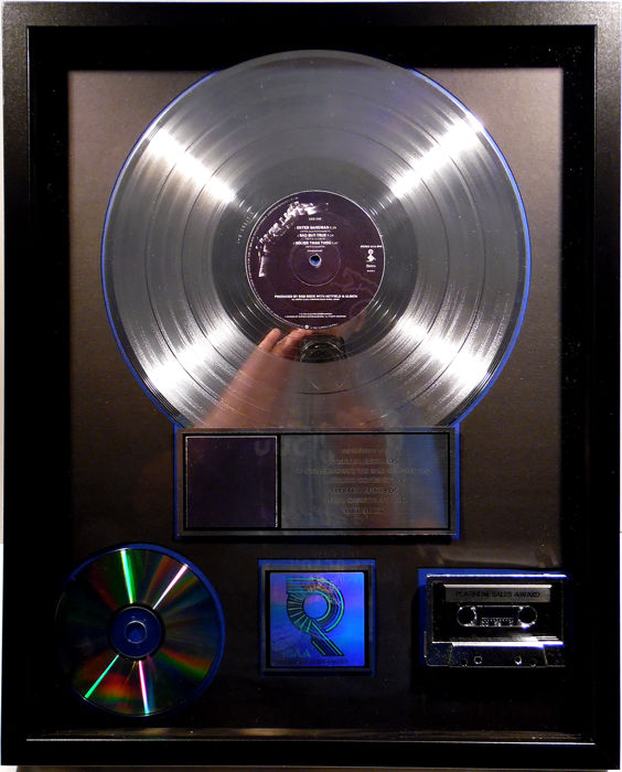Metallica - Metallica ( Black album ) - real US RIAA Platinum Music Award ( goldene Schallplatte)  - original Sales Music Record Award ( Golden Record )