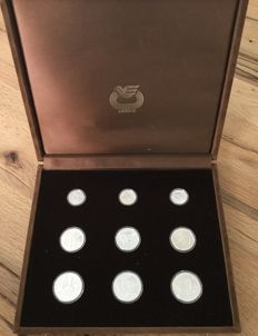 Greece – 100, 250 & 500 Drachmas 1981/1982 'Track and Field EC 1982' (9 coins) – silver