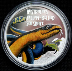 Tuvalu - Dollar 2013 'Deadly & Dangerous Yellow-bellied Sea Snake' - 1 oz silver