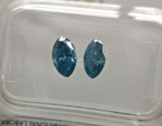 Lot of 2 Marquise cut diamonds total 1.01 ct Fancy Deep Greenish Blue SI2-SI3