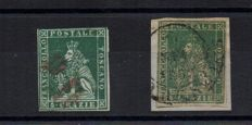 Tuscany 1851/1857 Marzocco 4 crazie, green and grey, and 4 crazie green – Sassone no. 6 and 14