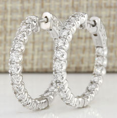 2.00 Carat Natural Diamond Hoop Earrings In 14K Solid White Gold *** Free shipping *** No reserve ***