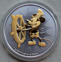 Niue - 2 Dollars 2017 'Mickey Maus / Steamboat Willie' Gold Gilded - 1 oz Silver