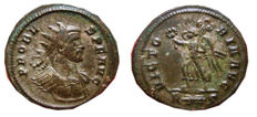 Roman Empire - Probus (276-282 A.D), silvered antoninianus ( 4,08 gr., 23 mm). Rome mint. VICTORIA AVG. Victory. R Thunderbolt S