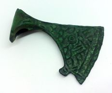 Early medieval Viking ax bronze amulet decorated with a pattern - 50х35 mm