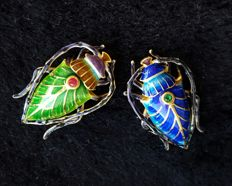 Enamel and 24k gold-plated sterling silver bug brooches