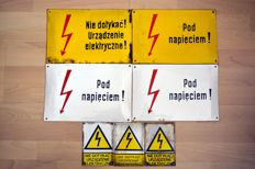 7 Enamel electricity warning sings - from Poland ca 60's